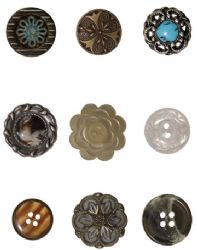 TH92837 Tim Holtz® Idea-ology™ Accourtrements - Classics 9 Buttons